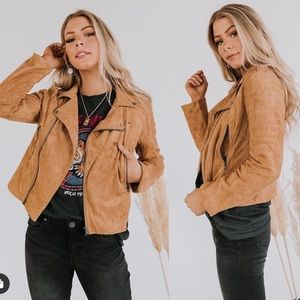 Faux suede stretchy zippered moto jacket